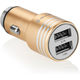 GoGEN autonabíječka, kovový bezpečnostní hrot, 2x USB, zlatá