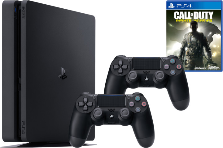 PlayStation 4 Slim, 1TB, černá + 2x DualShock 4 v2 + Call of Duty: Infinite Warfare