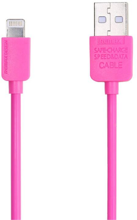 Remax USB datový kabel s lightning konektorem pro iPhone 5/6, 1m, růžová