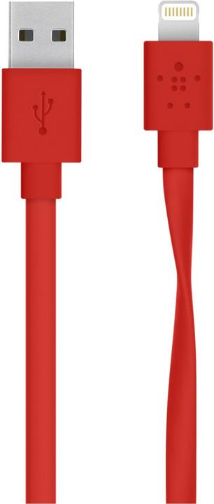 Belkin Mixit s Lightning konektorem, Flat, 1.2m, červená