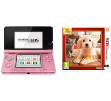 Nintendo 3DS, růžová + Nintendogs+Cats: Golden Retriever - NI3H041