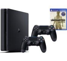 PlayStation 4 Slim, 500GB, černá - PS719845553UNC + Gamepad Sony PS4 DualShock 4, černý v ceně 1200kč + Uncharted: The Nathan Drake Collection (PS4)