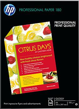 HP Professional Glossy Inkjet Paper, A4, 180 g/m2, 50 listů