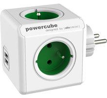 PowerCube ORIGINAL USB rozbočka-4 zásuvka, zelená