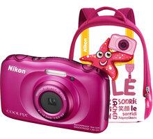 Nikon Coolpix S33, růžová + Backpack kit - VNA852K001