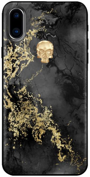 Bling My Thing Treasure Onyx/Gold Skull zadní kryt pro Apple iPhone X, krystaly Swarovski®