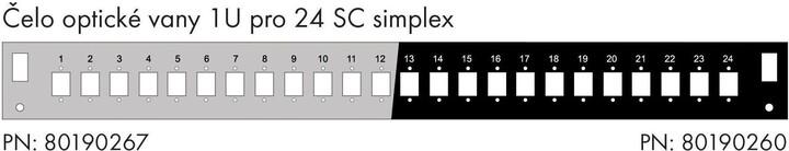 Solarix čelo optické vany 1U, pro 24 SC simplex, s montážními otvory