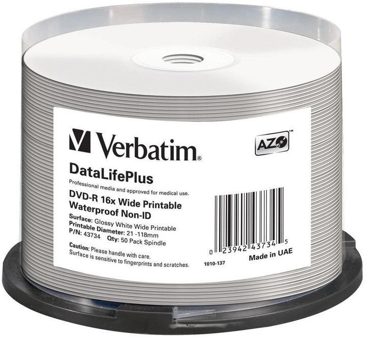 Verbatim DVD-R 16x 4,7GB Spindle, Wide Glossy Waterproof Print 50ks