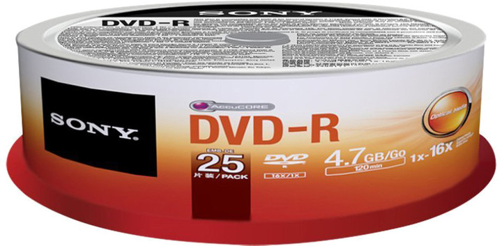 Sony DVD-R 4,7GB 16x Spindle, 25ks