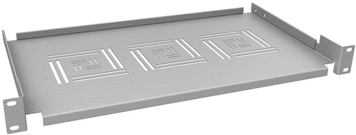 """Solarix police 19"""", 1U, 250mm, ukládací plato, RAL 7035, úchyt na přední lišty UP-02"""