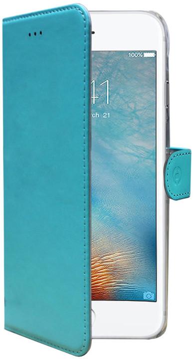 CELLY Wally pouzdro typu kniha pro Apple iPhone 7 Plus, PU kůže, tyrkysová