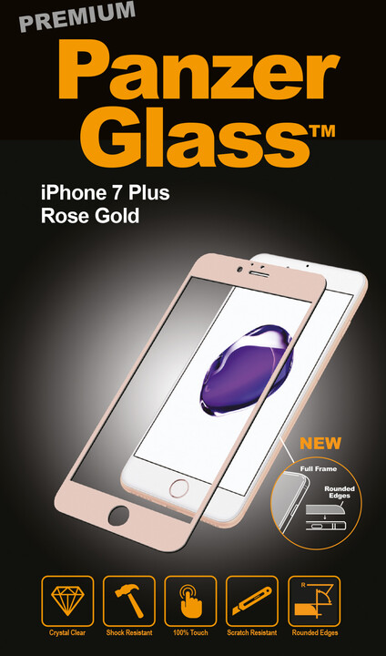 PanzerGlass ochranné sklo PREMIUM na displej pro Apple iPhone 7 Plus, rosegold